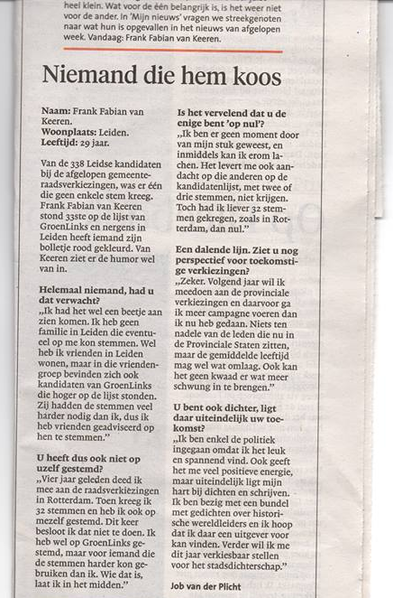 Interview in het Leidsch Dagblad